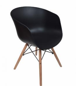 ghế nhựa chân gỗ màu đen