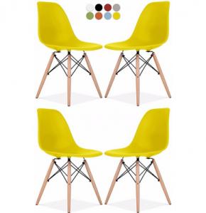 ghế nhựa chân gỗ màu vàng