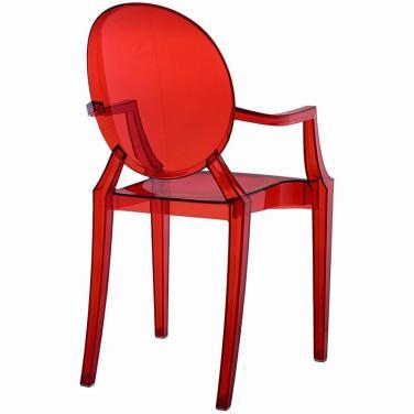 ghế nhựa trong suốt màu đỏ