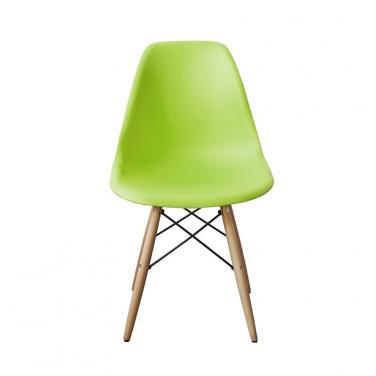 Ghế nhựa chân gỗ màu xanh lá
